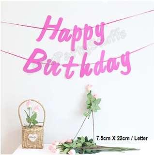 Happy Birthday Glitter Banner (Pink)