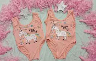 Unicorn Baby Swimsuit Peach