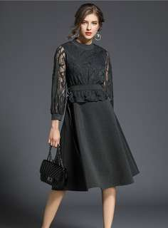 Formal: Grey Fashion Lace Splicing A-Line Dress (S / M / L / XL / 2XL) - OA/HHD121010