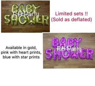 (19/4) Baby Shower / Full month Alphabet Letters Foil Balloons Party Wall Deco ( promotion ) - baby boy, baby girl  * while stock last-*