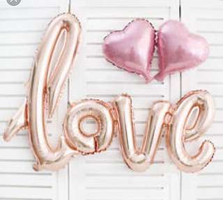 """(18/4) Jumbo """"LOVE"""" foil balloon (wall deco)  Inflate normal air only."""