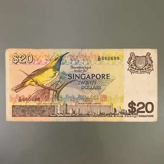 $20 Singapore Bird Series Twenty Dollars Bank Note Money Cash Bill Serial Number A/45 660699 number 6 and 9