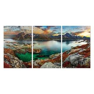 Brown Rock Ocean Acrylic Print 3 Piece