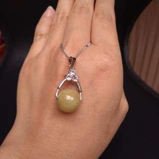 緬甸玉a貨黃翡轉運珠項鍊