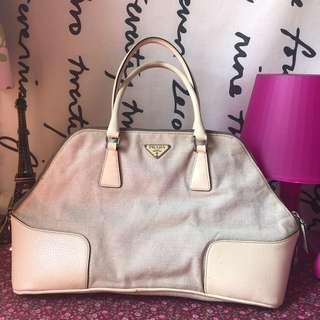Prada Bowler Linen Bag