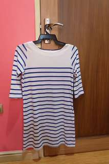 Regatta White Mini Dress with Blue Stripes