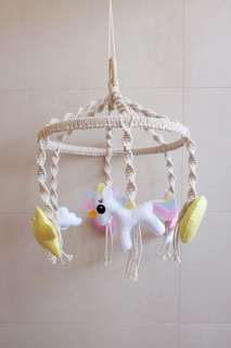 Unicorn Themed Macrame Baby Mobile