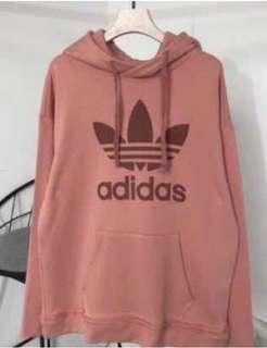 🚚 全新 Adidas 玫瑰花色長版帽T