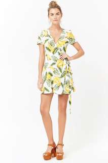 Preorder Forever 21 Banana Print Wrap Dress