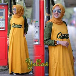Dress Wanita Queen 2 Warna Mustard Red