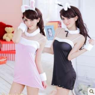 TCWK Sexy Women Nightdress Bunny Rabbit Style Pink & Black H48