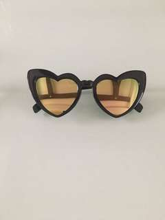 Heart Sunnies gold reflective lens