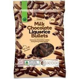 Milk Chocolate Liquerice Bullets 270g