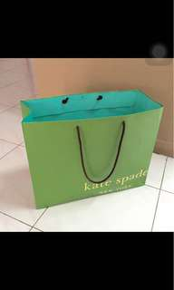 Kate spade ( green big paper bag )16,12&half , 6 inches