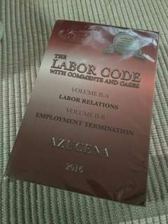 Labor Code Book II By Azucena Law book