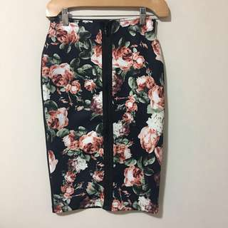 H&M XS BTN Floral Pencil Skirt with Zipper