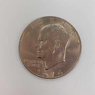 【錢幣收藏】United States of America 1974 one dollar coin