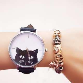 Black Cat Face Design Watch