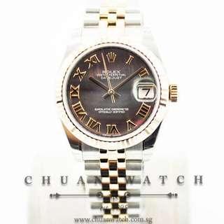 Brand New Rolex Boys' DateJust 31mm 178271 Black MOP Roman