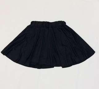 Black silk skirt with short