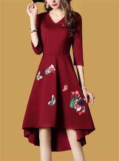 Formal: Red Retro European V-Neck Floral Embroidered Dovetail Dress (M / L / XL / 2XL) - OA/MKD112601