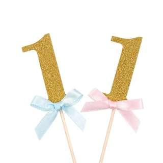 Cupcake Topper - First Birthday - For Boy & Girl