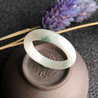 A-Grade Type A Natural Floral Jadeite Jade Thin Abacus Ring Band No.161275