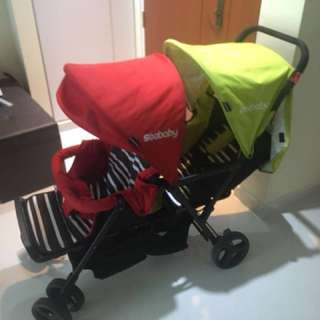 Seebaby double twins stroller pram two toddler