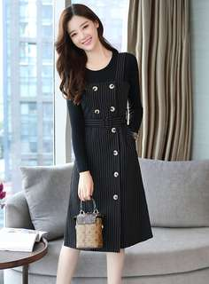 Casual: Black Knitting Tops with Double-Breasted Stripes Dress (M / L / XL / 2XL) - OA/YZD111740