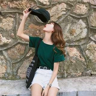 Forest green Korean style summer tee / blouse