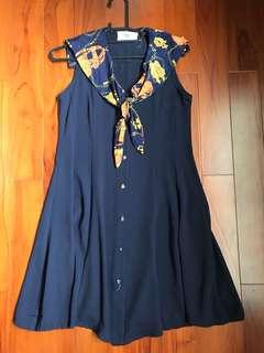 超顯瘦海軍領深藍洋裝