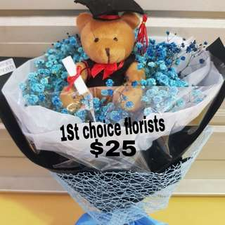 Flower graduation bear bouquet