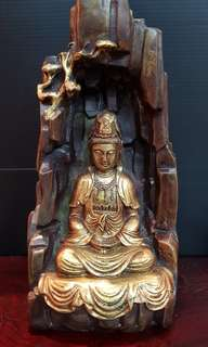 "9 "" Bronze Image of Meditating Guanyin in Cave."