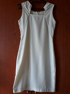Preloved Cream Office Dress - Free Size - Fits Small