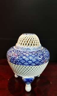 "5.5"" Porcelain Blue & White Porcelain Incense Burner."