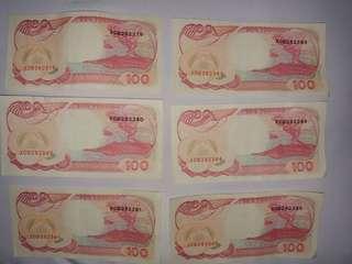 1 Set Uang Lama 100 Rupiah Seri bagus