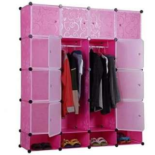 16 Cubes Portable DIY Storage Cabinet Clothes w/ shoe rack