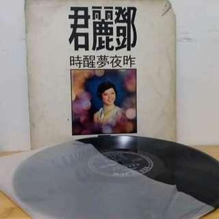 鄧麗君黑膠唱片。昨夜夢醒時。微花。背面歌詞