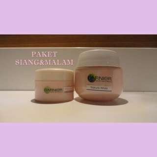 Garnier Sakura White Pinkish Radiance & Smooth Pores Whitening Serum Cream SPF21 PA++ (Day Cream) & Sleeping Essence (Night Cream)