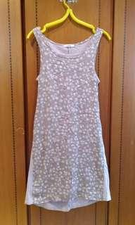 🚚 E-WEAR粉膚色 葉片圖案 長版無袖洋裝