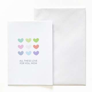 A6 Mother's Day Card - Hearts