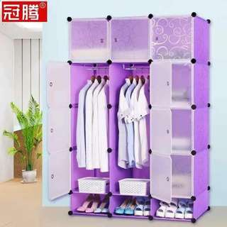 12 Cubes DIY Storage Clothes Cabinet w/ Shoe Rack