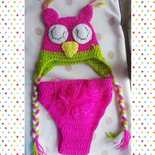 Bloom owl hat with diaper cover