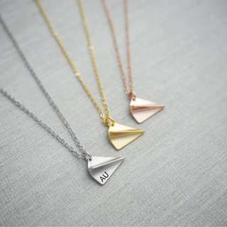 "NL052-2D- Minimalist Personalized Necklace Paper Plane Charm Initial Necklace with ""Max 2 Alphabets"" -2 Alphabets - Capital Letter Only-A-Z, Rhodium / Gold /Rose Gold - Made To Order"