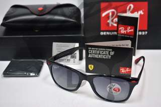 Original Ray Ban Wayfarer Liteforce Ferrari Scuderia RB4195 F601/8G 52MM Gradient Grey Polarized.