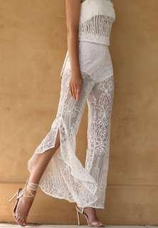 White lace pants
