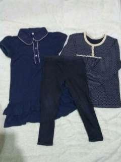 3 pieces blue cloth