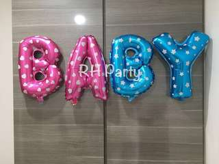 (20/4) BABY Alphabet Letters Foil Balloons Wall Deco ( limited sets) - Gender Reveal baby shower (16 inch )