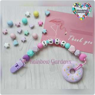 Handmade Customized Pacifier Clip with letter beads + Lilac Donut Teether