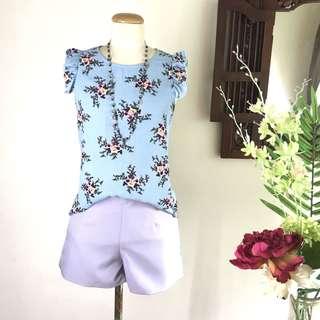 (SALE) Blue Floral Print Chiffon Blouse